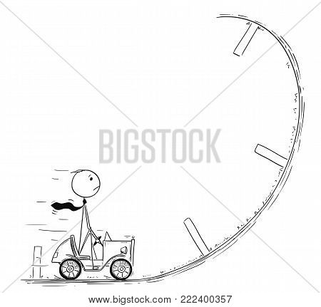 Cartoon stick man drawing conceptual illustration of businessman driving small car facing obstacle or problem in his way. Business concept of success, crisis and career difficulty.