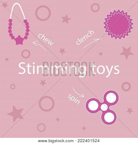 set stimming toys for people with autism in pink