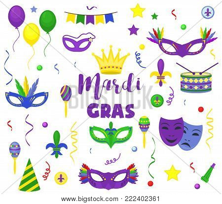 Mardi Gras carnival party vector masquerade celebration festival icons design flat style holiday purple collection. Venetian mardi gras mask with feathers beads, joker, fleur de lis party decorations.