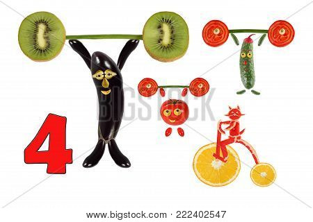 Learning to count. Cartoon figures of vegetables and fruits