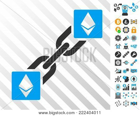 Ethereum Blockchain playing cards pictograph with bonus bitcoin mining and blockchain clip art. Flat vector pictures for crypto-currency websites.