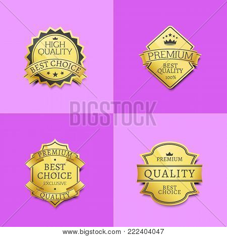 Collection of premium quality best golden labels guarantee sticker awards, vector illustration certificate emblems isolated on purple backdrop