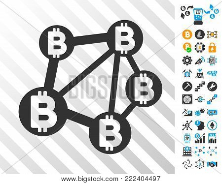 Bitcoin Network playing cards pictograph with additional bitcoin mining and blockchain pictograms. Flat vector style for blockchain toolbars.