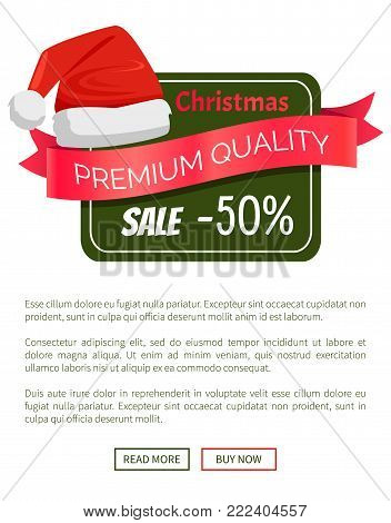 Christmas sale 50 off promo label Santa Claus hat advertisement badge with red winter headwear icon and information about discounts vector poster