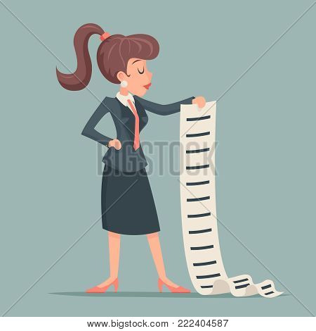 Businesswoman long list work offer deed sign document character icon retro cartoon design vector illustration