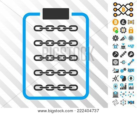 Blockchain List Page playing cards icon with additional bitcoin mining and blockchain graphic icons. Flat vector elements for crypto currency toolbars.