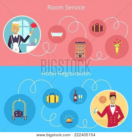Room service and hotel registration vector poster of chambermaid and concierge connected with round symbols of their work by white line