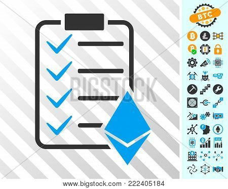 Ethereum Smart Contract playing cards icon with additional bitcoin mining and blockchain pictures. Flat vector icons for crypto-currency toolbars.