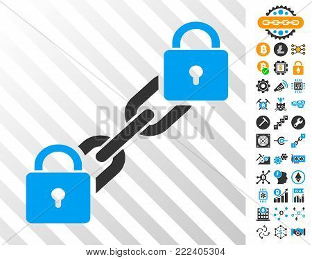 Lock Blockchain playing cards pictogram with additional bitcoin mining and blockchain clip art. Flat vector ui elements for bitcoin software.