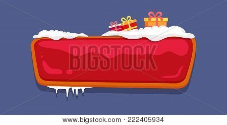 Empty glossy web push button covered with snow and decorated by presents in gift boxes vector illustration online shopping sign isolated on blue