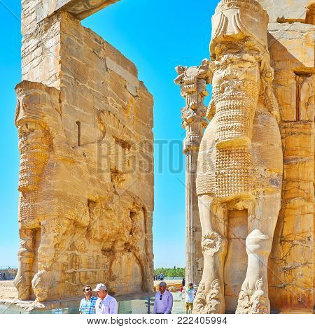 PERSEPOLIS, IRAN - OCTOBER 13, 2017: All Nations Gates (Xerxes Gate) are the symbol of Persepolis archaeological site, on October 13 in Persepolis.