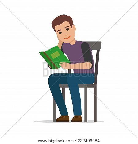 Young man reading textbook. Brown-haired male student seating on chair with book in hands flat vector isolated on white background. Enthusiastic reader illustration for educational and hobby concepts