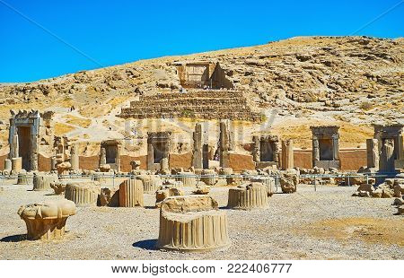 Persepolis archaeological site is interesting tourist location with many preserved antiquities, architectural objects, Iran.