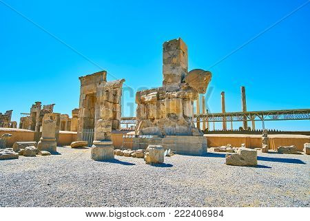 The Ruined Parts Of The Hundred Columns Hall With Giant Horso Protome Next To The Gate, Persepolis A