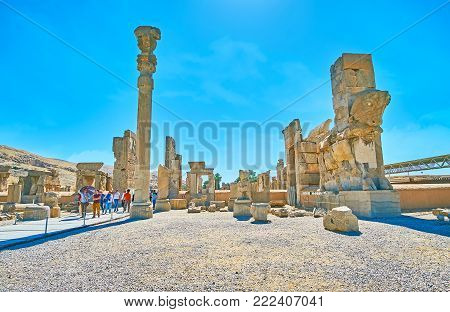 Persepolis, Iran - October 13, 2017: The Hot Midday In Persepolis Archaeological Site, The Ancient C