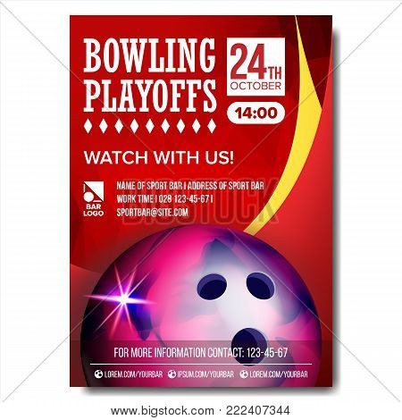 Bowling Poster Vector. Sport Event Announcement. Banner Advertising. Professional League. Vertical Sport Invitation Template. Event Label Illustration