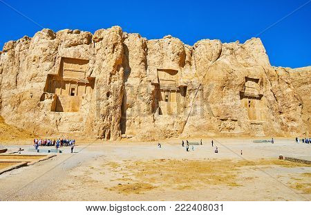 The monumental mausoleums of ancient Persian Kings are cut in Hossein Mount, Naqsh-e Rustam archaeological site, Iran.