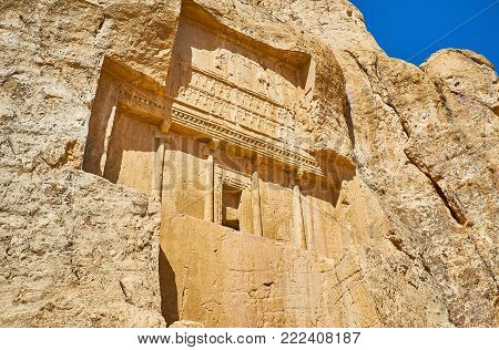 The mausoleum of Darius II and the equestrian reliefs from below of it, Naqsh-e Rustam archaeological site, Iran.