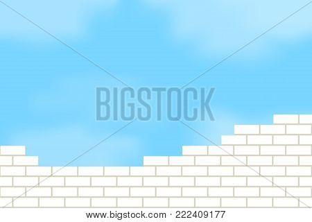 Vector illustration of brickwork against the sky.