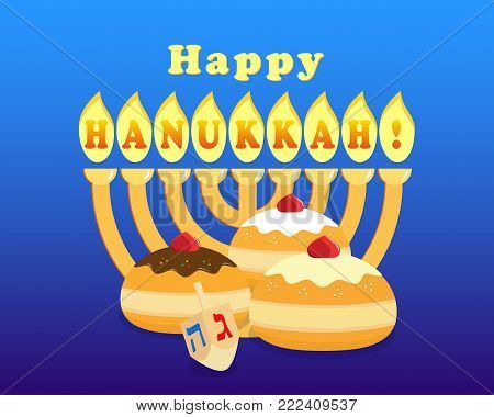 Greeting card for jewish holiday of Hanukkah, hanukkah menorah - traditional candelabrum, sufganiyot doughnuts on blue background