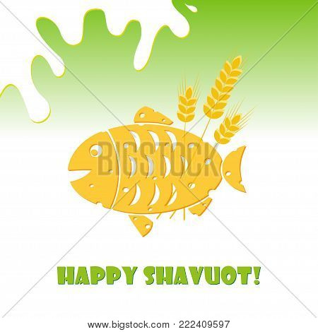 Greeting card for Jewish holiday of Shavuot, cheese fish and inscription Happy Shavuot