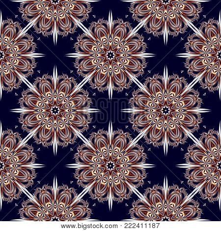 Seamless pattern with floral circle ornament. You can use it for invitations, notebook covers, phone case, postcards, cards, ceramics, carpets and so on. Artwork for creative design.
