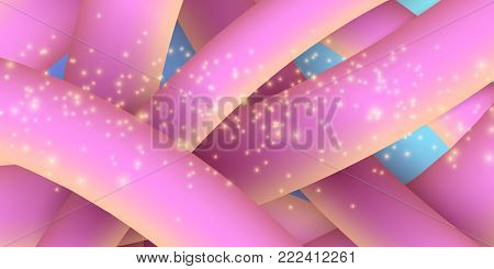 Abstract purple yellow fluid lines in 3d style. Banner for text. Blue background. Golden lights, glare. Modern design for your project. Plexus lines. Vector illustration