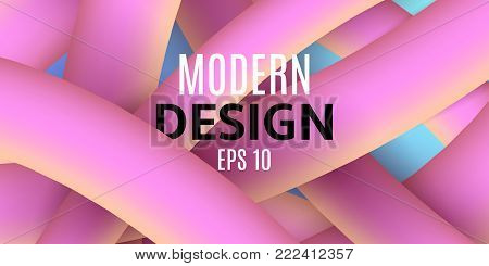 Abstract purple yellow fluid lines in 3d style. Banner for text. Blue background. Modern design for your project. Plexus lines. Vector illustration