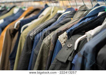 Autumn Jackets And Coats In Second Hand Shop.