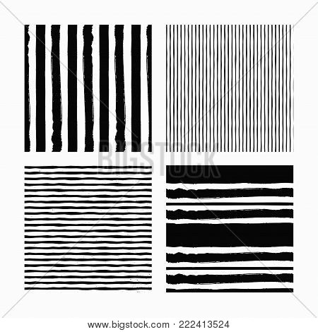 Hand Drawn textures made with ink. Isolated. Vector Illustration. Monochrome hand drawn texture.