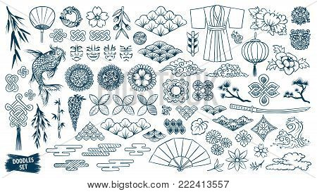 Kabuki. Japanese doodle set. Kabuki theatre elements. Kumadori mask. Kimono ornament. Asia culture symbols bundle. Chinise sketches. Asian drawings collection. China. Japan. Vector sketch.