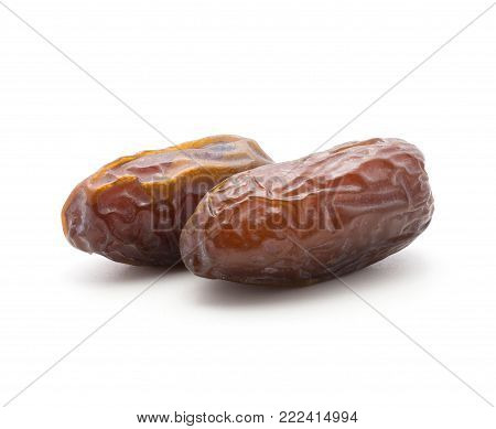 Two date fruits Medjool isolated on white background
