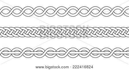 macrame crochet weaving, braid knot, vector knitted braided pattern of intersecting strands wicker