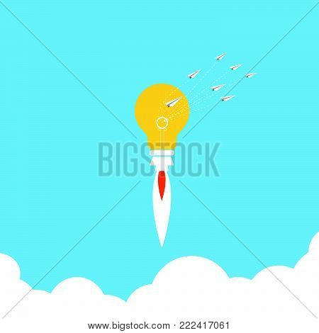 Vector of light bulb launch. Light bulb in a flat style. Flying light bulb. Start up concept.