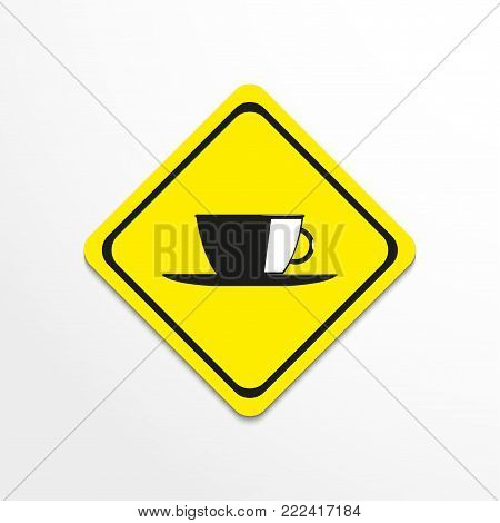 A cup and saucer. Vector icon. Conditional vector image.
