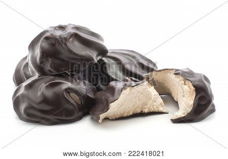 Dark chocolate-coated zefir set isolated on white background one broken four whole