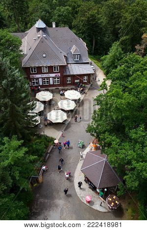 Karlovy Vary, Czech Republic - July 3: Beautiful Aerial View From Diana Lookout Observation Tower In