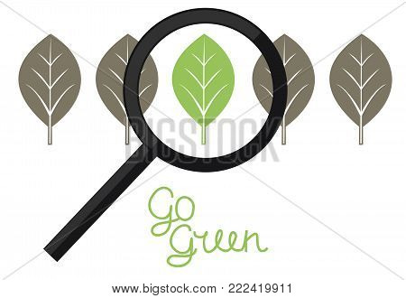 Sign with green and grey leaves and the inscription made by hand Go green. Logo. Bio. Eco. Icon