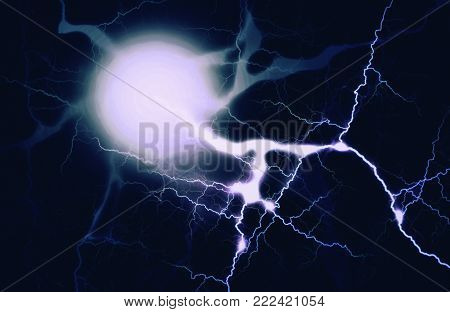 Electric Discharge Background. Electricity Visual Effect For Design. Electrification, Technology, Gr