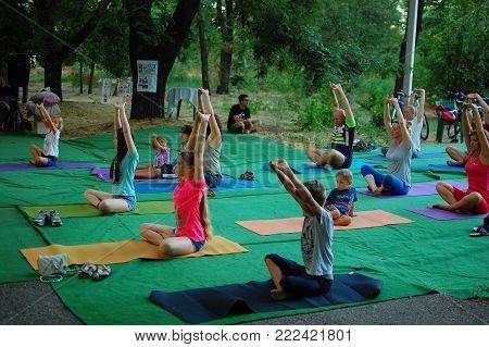 Russia, Volgodonsk - May 19, 2015: Yoga Classes Gymnastics For The Body Yoga