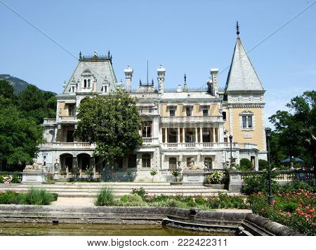 Yalta, Crimea, Russia - JULY 08, 2012: Massandra Palace on blue sky in summer day Crimea. Yalta Ay Petri