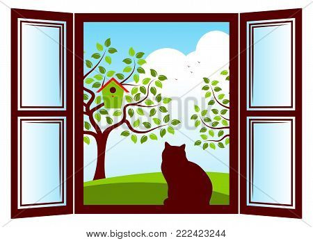 vector cat in the window and trees with nesting bird box outside the window