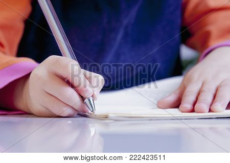 Little Beautiful Girl Writing In Her Book (education, Knowledge, Work, Success Concept)