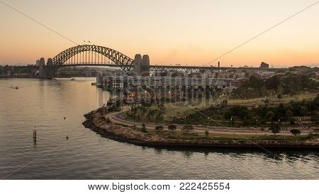 View over Millers point, Barangaroo reserve, at Sydney Harbour Bridge at sunrise, Australia