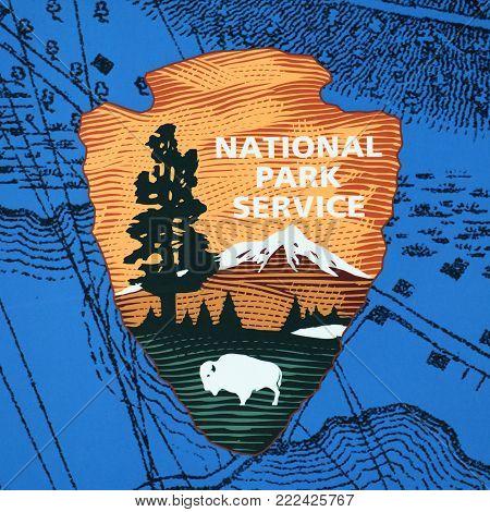 BOSTON - MAY 13, 2014: US national park service sign on Bunker Hill Monument in Charlestown Boston, Massachusetts, USA.