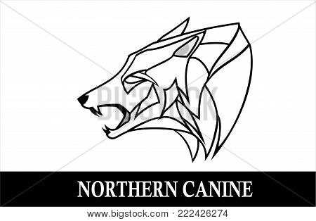 wolf, dog. side view of wolf head