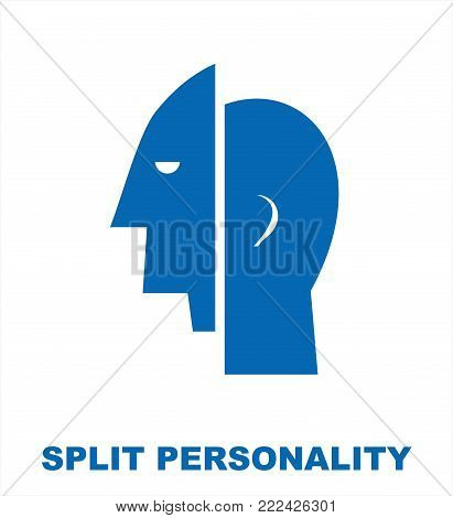 split personality. simple flat vector illustration of mental health concept.