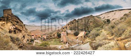 Sagarejo Municipality, Kakheti Region, Georgia. Panoramic View, Panorama Of Ancient Rock-hewn Georgian Orthodox David Gareja Monastery Complex. Monastery Is Located Is Southeast Of Tbilisi. Hundreds Of Cells, Churches.