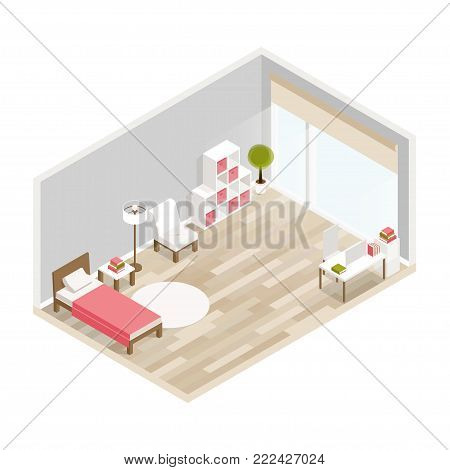 Bedroom isometric design with bed,workplace,bookcase,carpet.City hotel flat color illustration.Isometric living room.Isometric luxury interior for bedroom with bed bedside tables window and decoration
