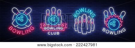 Bowling is collection of neon signs. Collection of Emblem Symbols, Neon Logo, Light Advertising Banner, Night Lighting Billboard, Design Pattern for the Bowling Club, Tournaments. Vector illustration.